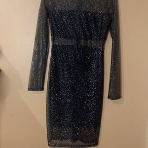 Semi Sheer Black Sparkle Dress